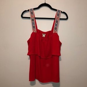{J. Crew} Tiered Woven Red Tank Top Printed Straps